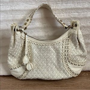Isabella Fiore Off White Leather Hobo Bag